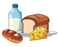 Milk with bread. And cheese vector illustration graphic design stock illustration