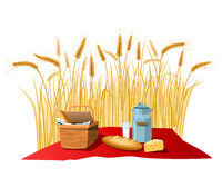 Milk, bread and cheese on wheat field. Vector Stock Photography