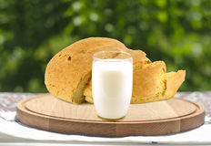 Milk and bread Stock Images