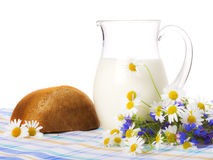 Milk, bread and field flowers Royalty Free Stock Photography