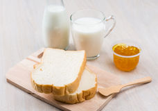 Milk, bread and jam Royalty Free Stock Image