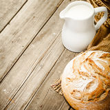 Milk and bread Royalty Free Stock Image