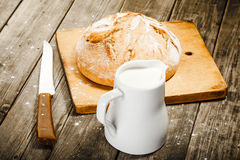 Milk and bread Royalty Free Stock Images