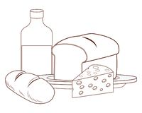 Milk with bread. And cheese vector illustration graphic design royalty free illustration