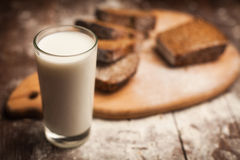 Milk and bread on table. still life Royalty Free Stock Photos