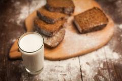 Milk and bread on table. still life Royalty Free Stock Photography