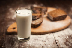 Milk and bread on table. still life Stock Images