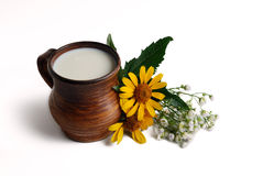 Milk in brown ceramic bowl, summer flowers. On a white background Stock Photos