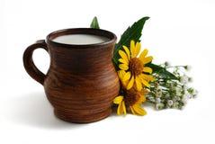 Milk in brown ceramic bowl on a white background. Milk in brown ceramic bowl, summer flowers on a white background Royalty Free Stock Photo