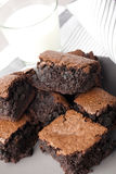Milk and Brownies Royalty Free Stock Photos