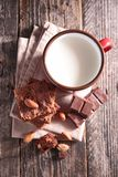 Milk and brownies Royalty Free Stock Image