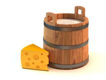Milk bucket and a piece of cheese vector illustration