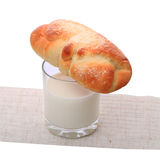 Milk and bun Royalty Free Stock Photos