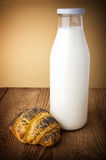 Milk with bun Royalty Free Stock Photo