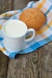 Milk and bun Stock Photo