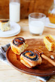 Milk bun with poppy seeds Stock Image