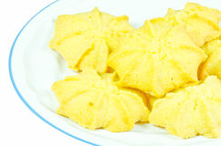 Milk butter cookies on white dish Royalty Free Stock Photo