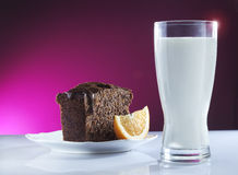 Milk and cake Royalty Free Stock Images