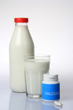 Milk and Calcium Pills Stock Photography