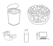 Milk, Calcium, Product, Food .Milk product and sweet set collection icons in outline style vector symbol stock. Illustration Royalty Free Stock Photos