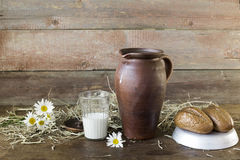 Milk and camomile. Jug milk and chamomile on a wooden background royalty free stock image