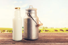 Milk can and bottle on table near the cow pasture meadow Stock Photography