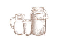 Milk can, pitcher and glass Stock Photos
