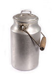 Milk canister. Old aluminum milk canister on white background royalty free stock photography