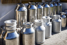 Milk canisters Stock Images