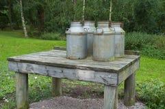 Milk Cans. Småland, Sweden royalty free stock images