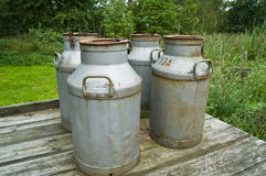 Milk Cans. Småland, Sweden stock image