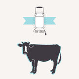Milk cans with blue ribbon. Cow silhouette. Stock Photos