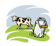 Milk cans with cow. Milk cans with grass country style vector sketch Royalty Free Stock Photo
