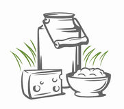 Milk cans with grass. Country style vector sketch Stock Photos