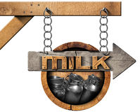 Milk Cans - Wooden Sign with Arrow and Chain Stock Image