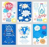 Milk card, logo. Print card for dairy, agriculture, shops, a milk bar. Stock Photo
