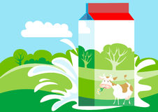 Milk Carton. Is on the background of green meadows Royalty Free Stock Photo