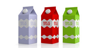 Milk carton boxes on white. 3d illustration Royalty Free Stock Image