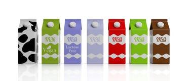 Milk carton boxes on white. 3d illustration. Milk carton boxes on white background. 3d illustration Royalty Free Stock Image
