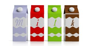 Milk carton boxes on white. 3d illustration Stock Photo
