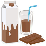 Milk carton, chocolate glass of milk and bar of chocolate Stock Photos