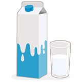 Milk carton and glass of milk Stock Image