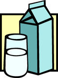 Milk carton and glass vector illustration Royalty Free Stock Images