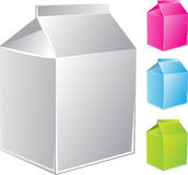 Milk carton package of different color Stock Image