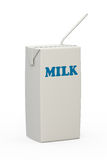 Milk Carton With Straw Stock Photography