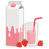 Milk carton, strawberry glass of milk and strawberries Stock Photography