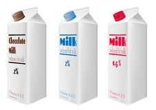 Milk cartons with cap. Reduced fat milk. Chocolate milk. Milk cartons with cap. Reduced fat milk vector illustration