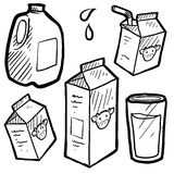 Milk cartons sketch Stock Images