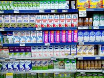 Milk in cartons sold in a grocery store Stock Image