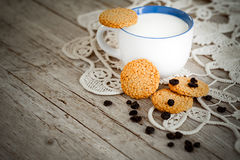 Milk And Cereal Biscuits Stock Photography